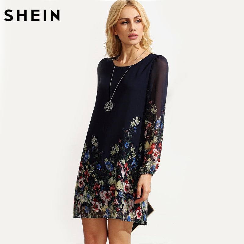 2772731de6 ... SHEIN Casual Autumn Boho Dresses for Women Multicolor Round Neck Long  Sleeve Floral Print Straight Chiffon ...