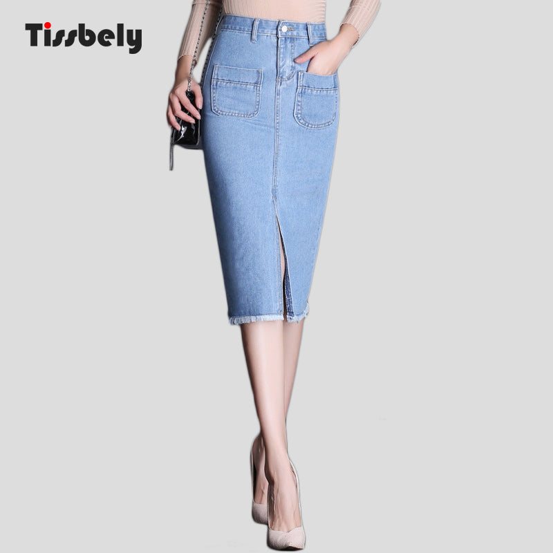 3692deebd3 ... Tissbely Women's Pencil Skirt Denim Long Jeans Skirt Office Lady High  Waist Jean Skirts Knee Length ...