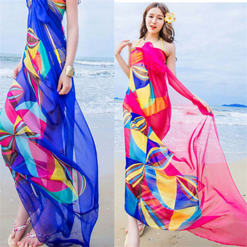 2f705ceef1843 ... Women Bikini Beach Wear Hot Summer Beach Sarongs Chiffon Scarves  Geometrical Design Swimsuit Cover Up Dress ...