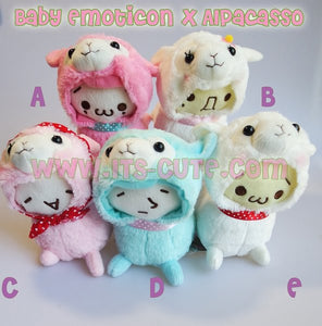 15cm Medium Baby Emoticons With Alpaca Costume Plush Doll.
