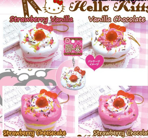 Rare Non- Repo Hello Kitty Sweets Cafe Shortcake Squishy (Strawberry Chocolate)