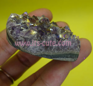 Small Heart Shape Aura Amethyst Crystal