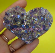 Aura Amethyst Cluster Heart Shape Standing Crystal