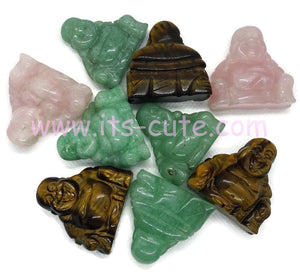 Hand Carved Crystal Happy Buddha Front