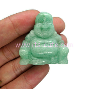 Hand Carved Crystal Happy Buddha Green Jade