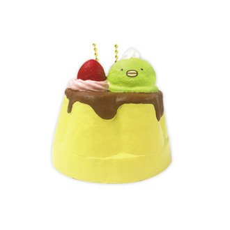 Sumikkogurashi Pudding Squishy Mascot With Ball Chain.