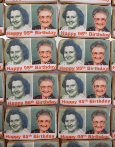 Personalized Then and Now Birthday Cookies - Boxed Set of 20