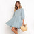Elegant Solid Pleated Casual Dresses Women Summer O Neck Middle Sleeve Buttons Dress Cotton Midi Dress Pink Blue Loose Sundress