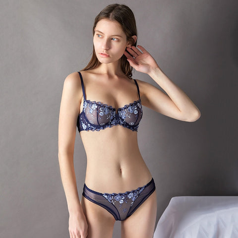 95b4054c15 Fashion Embroidery Bras Underwear Women Set