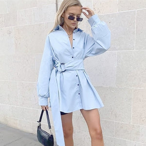 Korean Style Elegant Shirt Dress Women Casual Lapel Lantern Sleeve Mini Dresses Autumn Button Belt Vintage Tunic Dress Vestidos