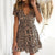 Sexy Leopard Print Dress Women V Neck Short Sleeve Ruffles Beach A Line Summer Sundress Casual High Wast Club Party Mini Dresses