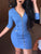 Women Fashion Denim Sheath Dresses Zipper Design V neck Slinky Bodycon Dress