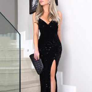 Women Sexy Deep V Neck Sling Sequins Dress Sleeveless High Split Black Slim Long Dresses Lady Cocktail Club Party Dress Vestidos