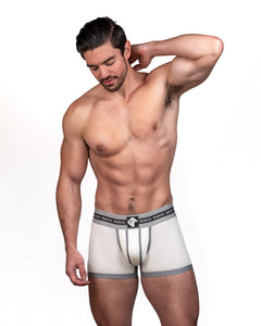 Steve Grand wearing GRAND AXIS boxerbrief underwear. white