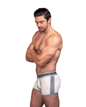 Load image into Gallery viewer, Steve Grand wearing GRAND AXIS boxerbrief underwear. in white. side view