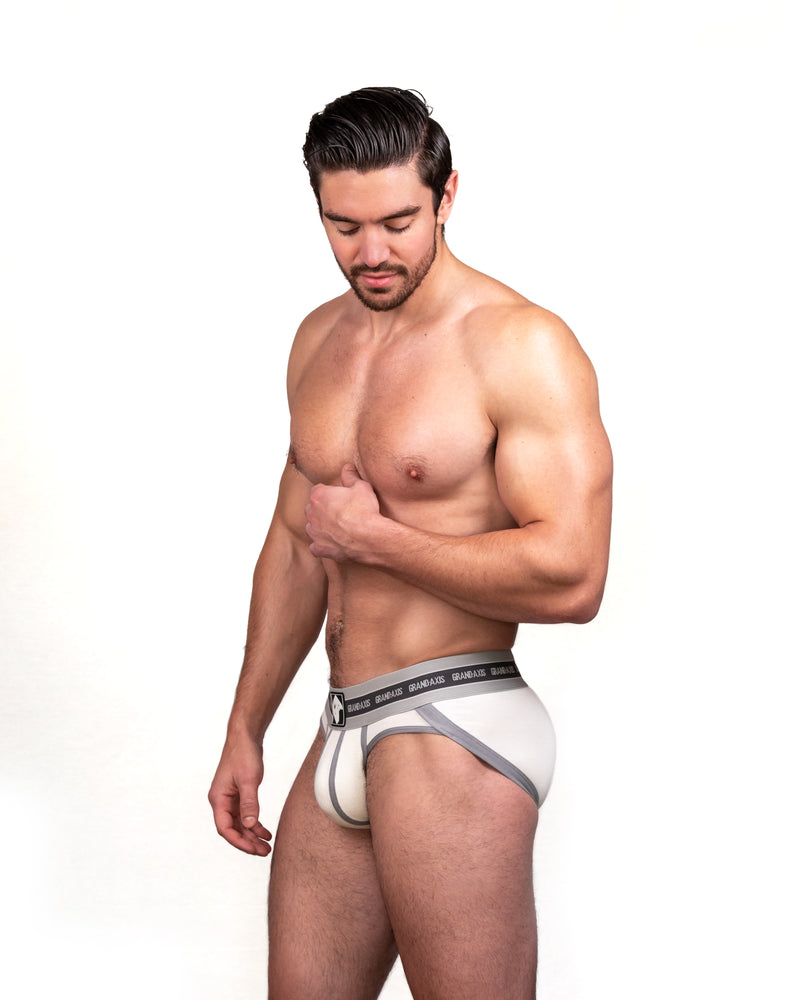 Steve Grand wearing GRAND AXIS brief underwear in white