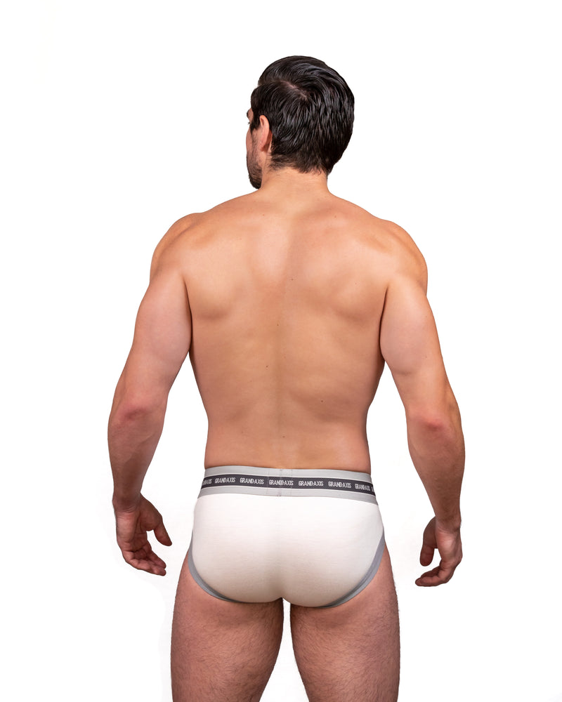 Steve Grand wearing GRAND AXIS brief underwear in white back view