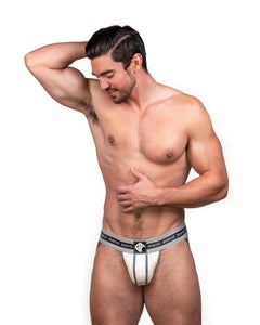 Steve Grand wearing GRAND AXIS jockstrap underwear. white color