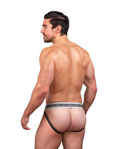 Steve Grand wearing GRAND AXIS jockstrap underwear back view. butt.