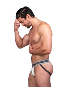 Steve Grand wearing GRAND AXIS jockstrap underwear side view. butt