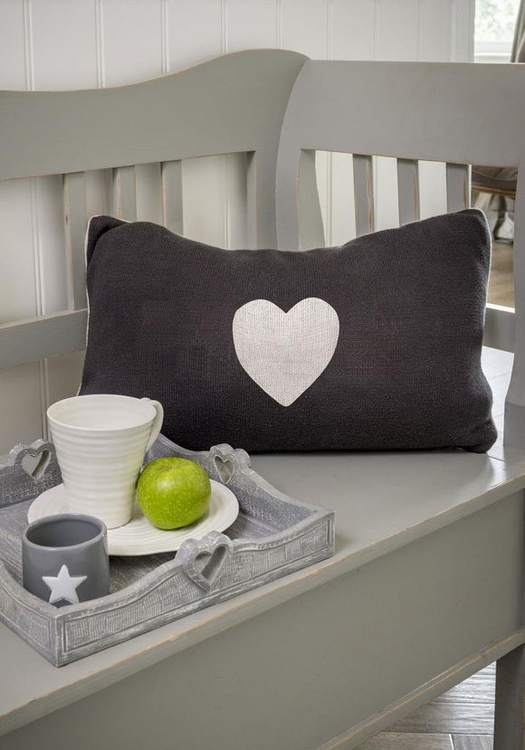 Two Way Heart Knit Cushion