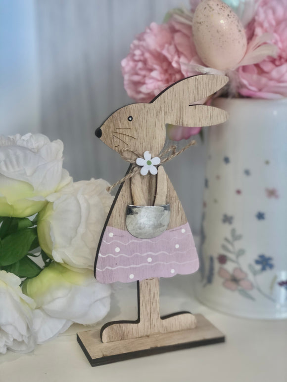 Wooden Girl Bunny Ornament