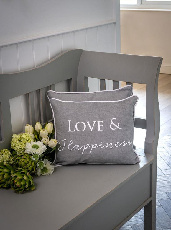 Dove Grey Love & Happiness Cushion