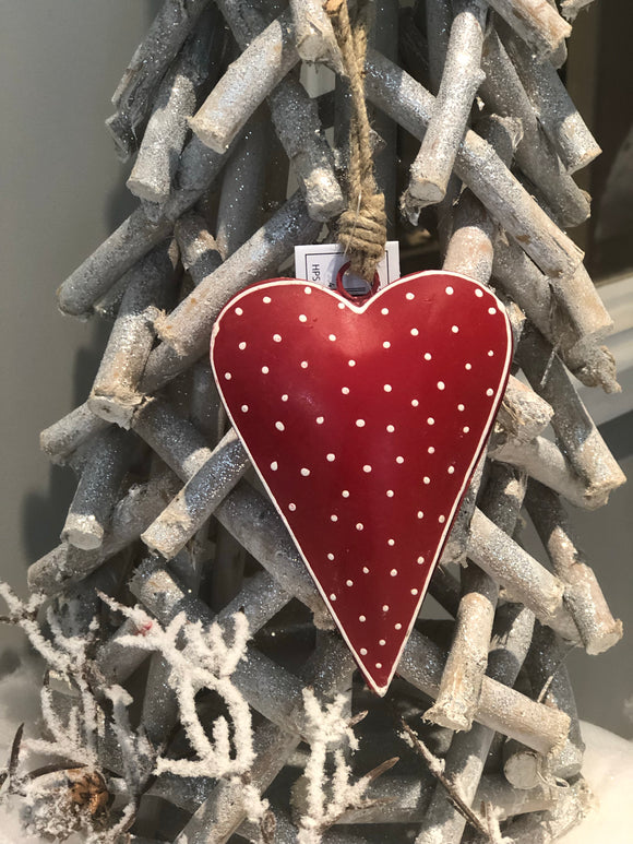 Hanging Red Nordic Heart 13cm