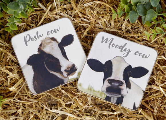 Posh Cow and Moody Cow Coasters (Set of 2)