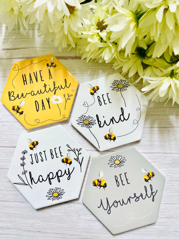Positivity Bee Coasters (Set of 4)