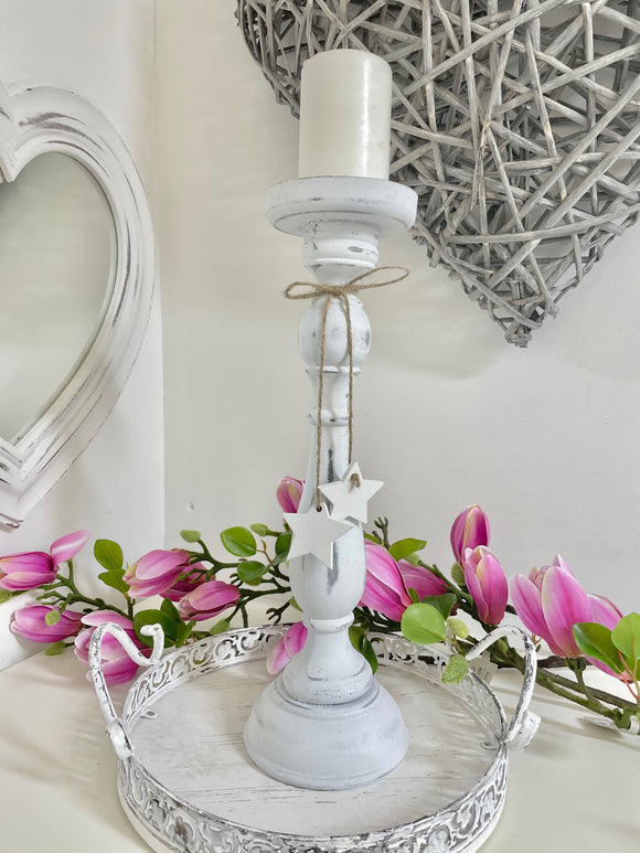 White Washed Candlestick 38cm
