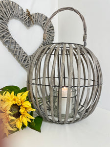 Grey Wicker Balloon Lantern 29cm