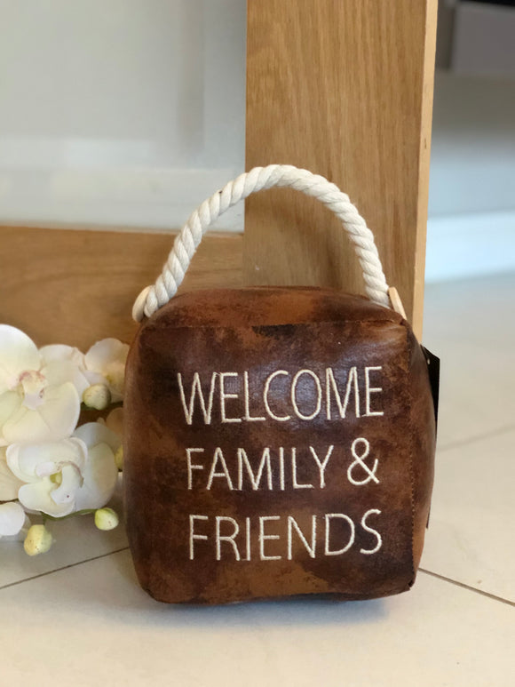 Family and Friends Faux Leather Doorstop