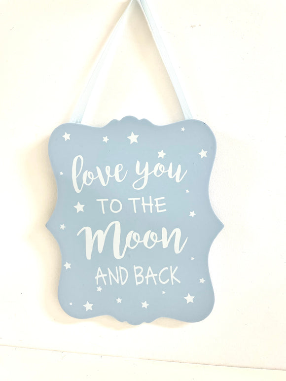 Wood Plaque 20cm - Blue/Love You to the Moon