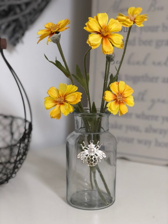 Mini Glass Bottle Vase With Silver Bee Charm