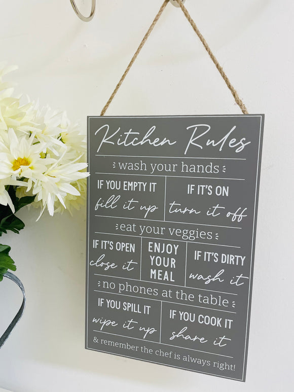 Kitchen Rules Wooden Plaque