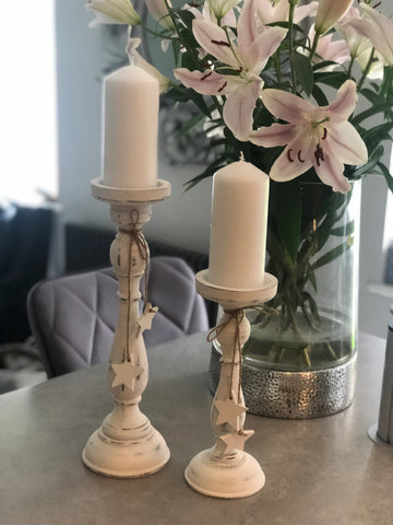 Pair of White Washed Candlesticks
