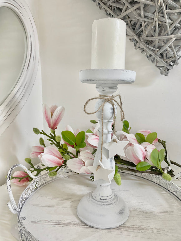 White Washed Candlestick 27cm