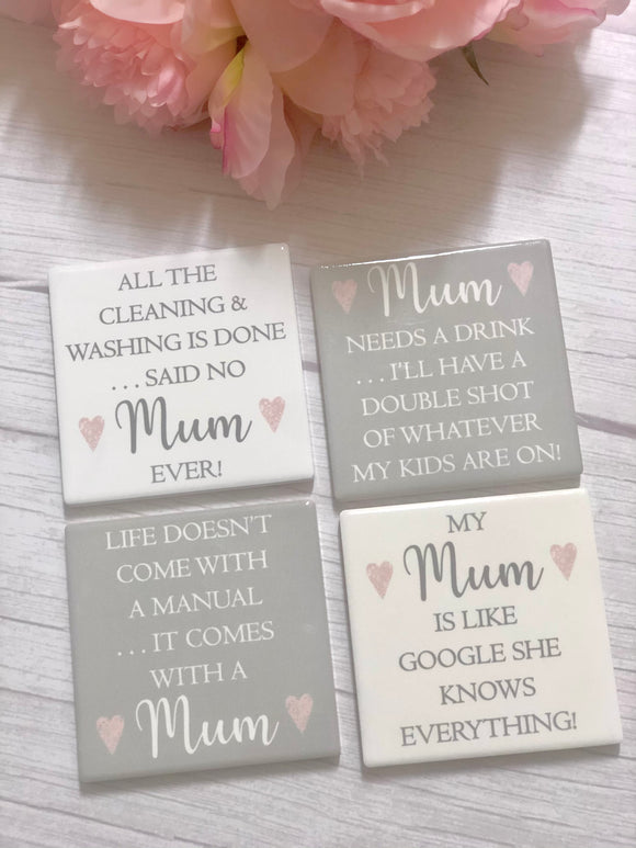 Ceramic Tiled Mum Coasters (Set of 4)