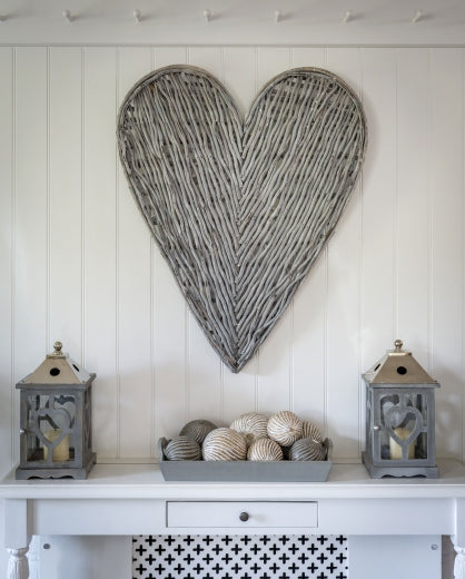 Large Grey Wicker Heart 87cm