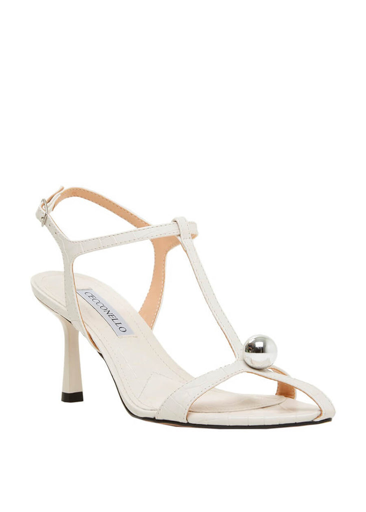 Cecconello crocodile textured stiletto heels in white with silver ball decoration 1596002-2 | Perth WA