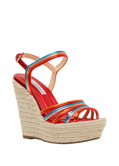 Red leather wedges with espadrille heel | Perth WA