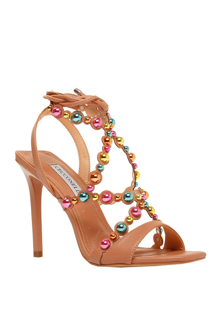 Brown stiletto heeled sandal with multicolour studs | Perth WA