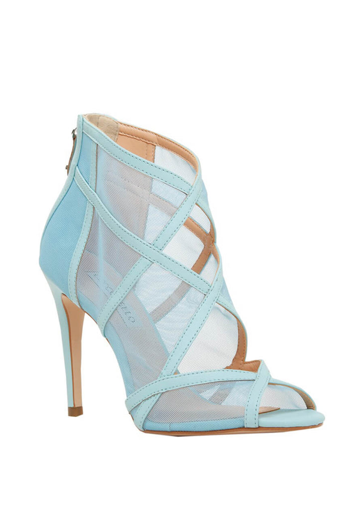 Cecconello light blue stiletto heel peep-toe pumps 1611001-3 | Perth WA