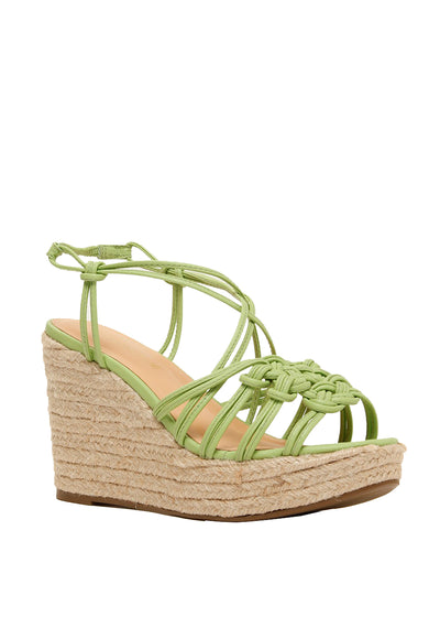 Strappy wedge heels in soft avocado green and espadrille wedge heel | Perth WA