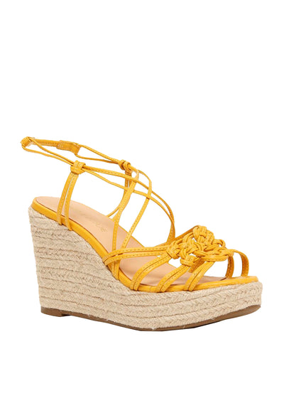 Strappy yellow wedges featuring an espadrille heel | Perth WA