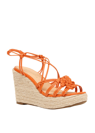 Strappy orange wedges with an espadrille heel | Perth WA