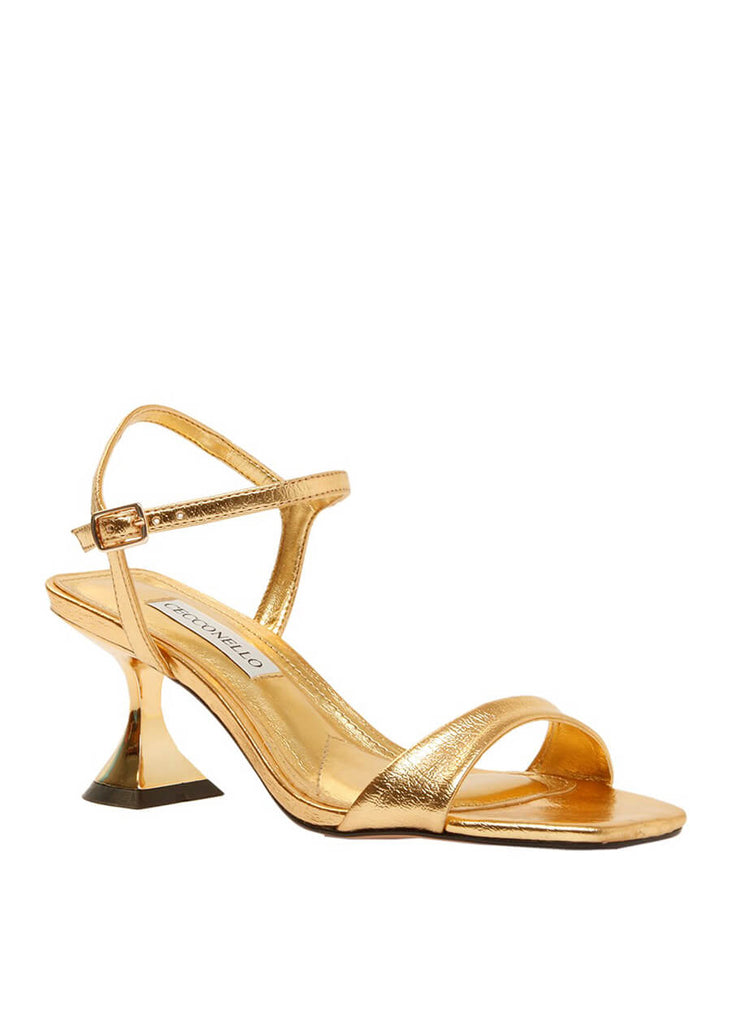 Cecconello metallic gold mid-heel sandals 1628001-2 | Perth WA