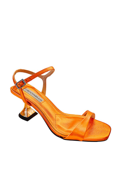 Cecconello metallic orange mid heel sandals 1628001 | Perth WA