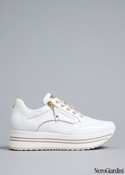 White platform sneakers | NeroGiardini | Dimario Italian Shoes Perth WA